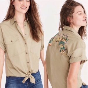 Madewell tie-front embroidered button-up khaki top